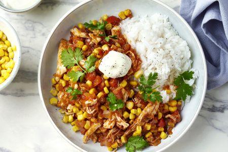 Chili con pollo met rijst