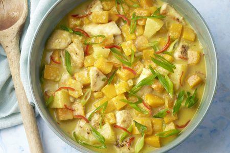 Caraïbische kip curry met pompoen en ananas