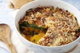Foto van Pompoenlasagne met gehakt, spinazie en walnoten