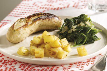 Witte beuling met spinazie en gebakken aardappelblokjes