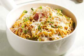 Foto van Pasta met pancetta en pecorino