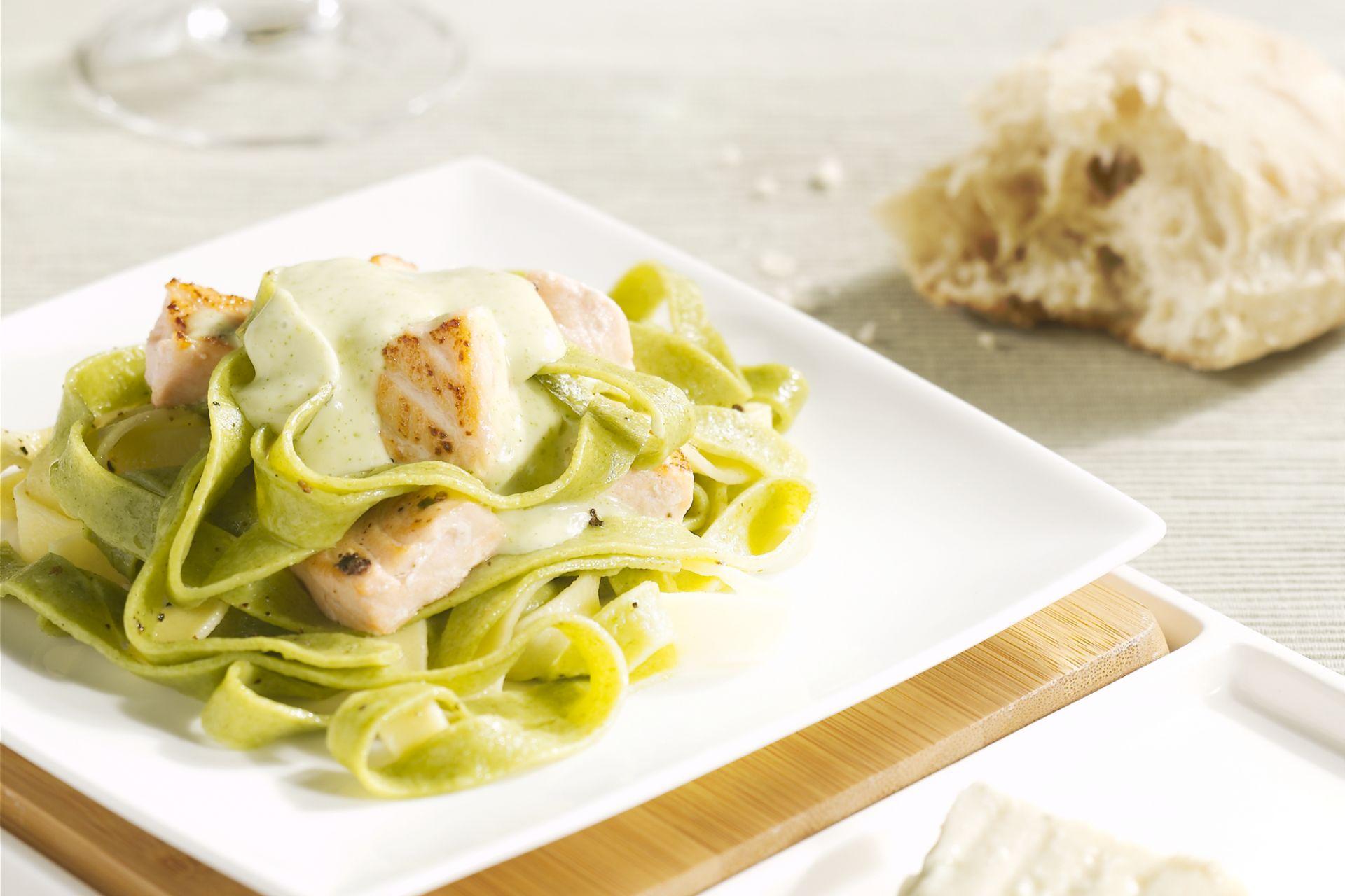 Pasta met zalm en roquefort
