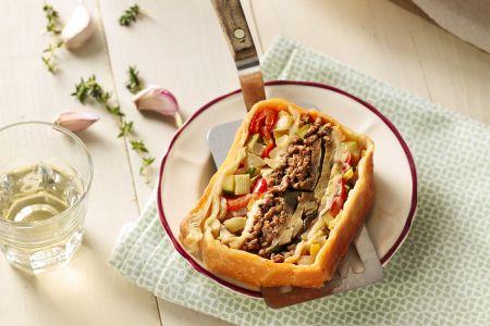 Millefeuille van lamsgehakt en Provençaalse groenten