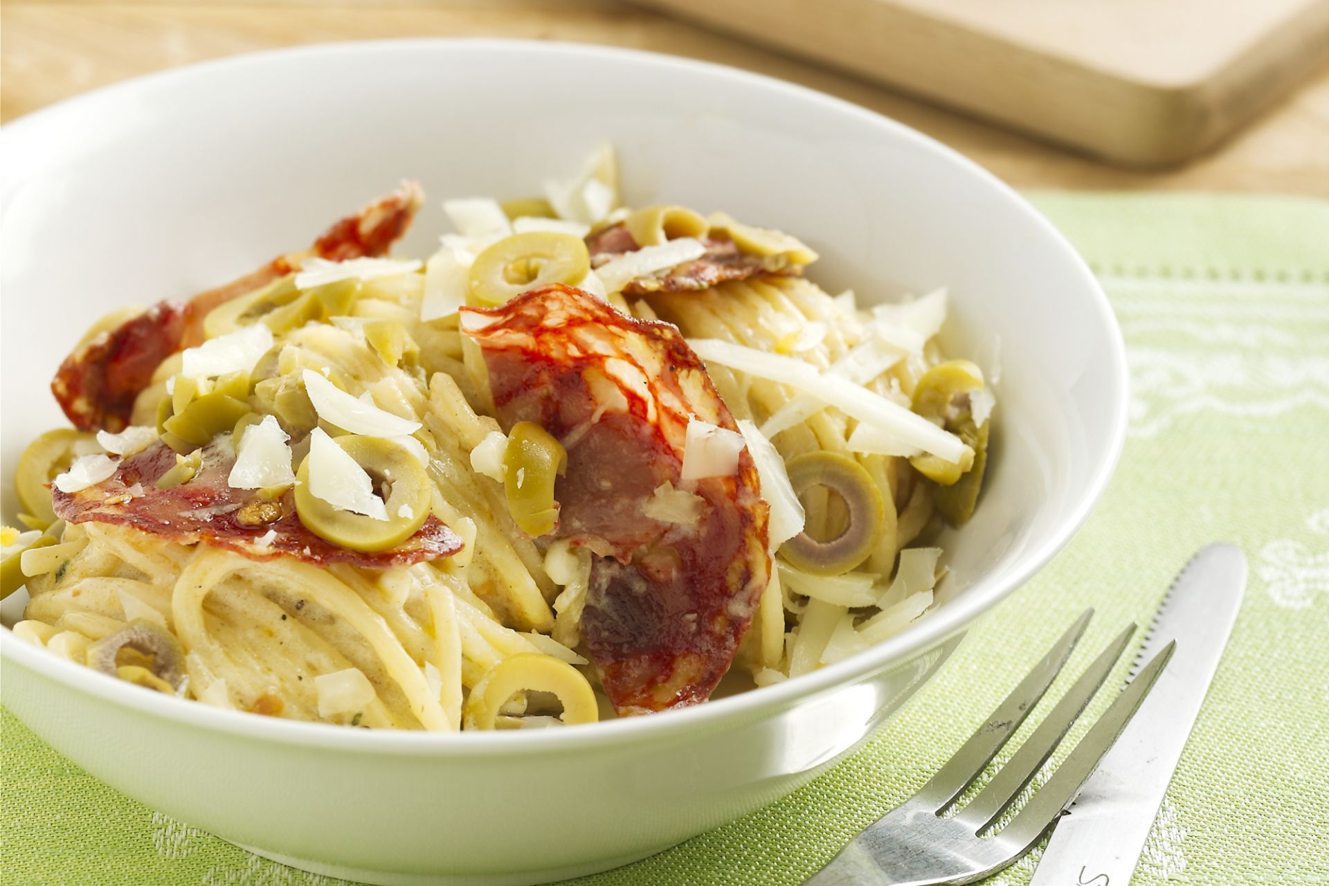 Spaghetti met chorizo en manchego