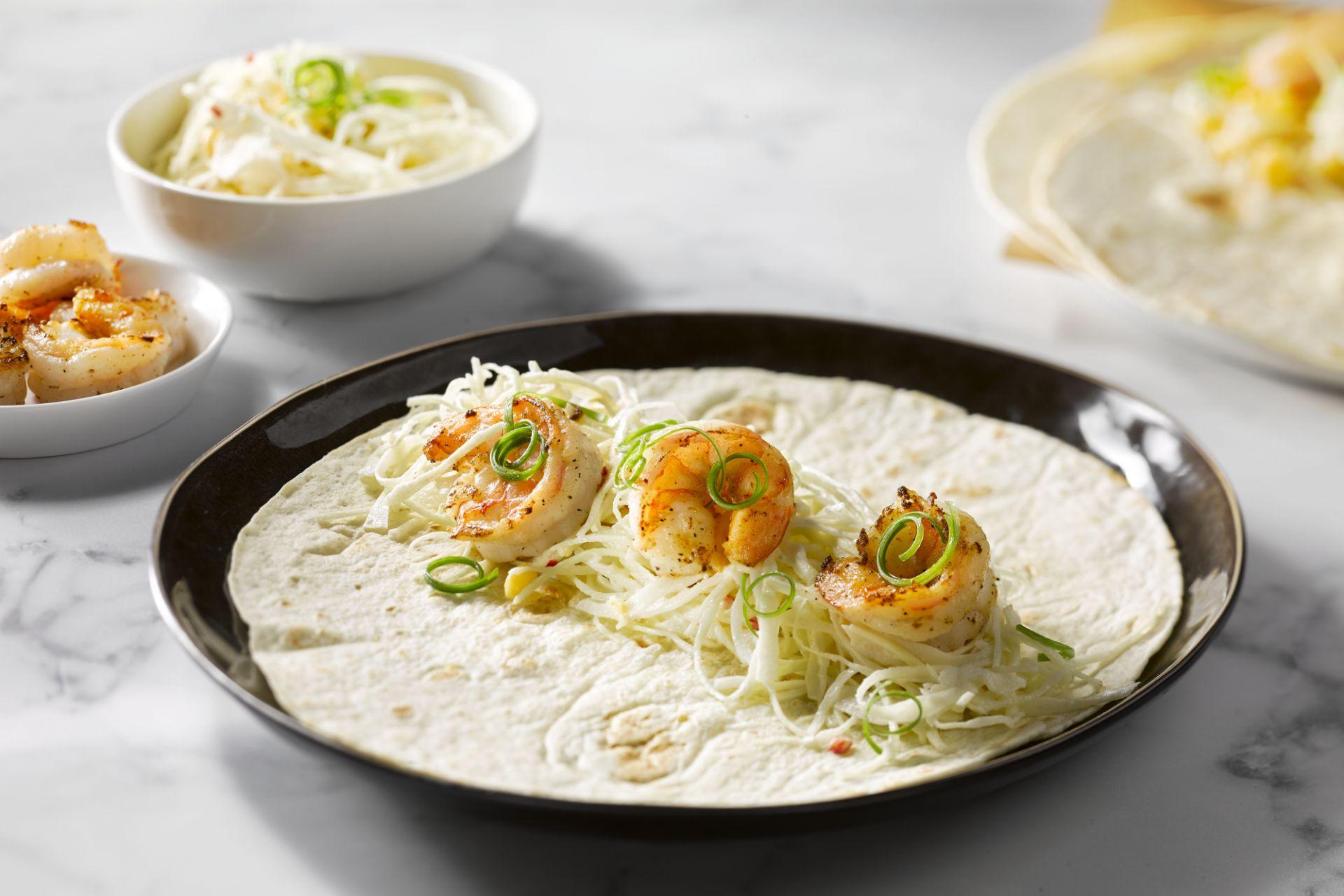 Taco's met scampi en koolsla