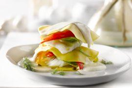 Foto van Lasagne met tarbot en paprika