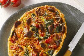 Foto van Quiche met tomaten, spinazie en chorizo