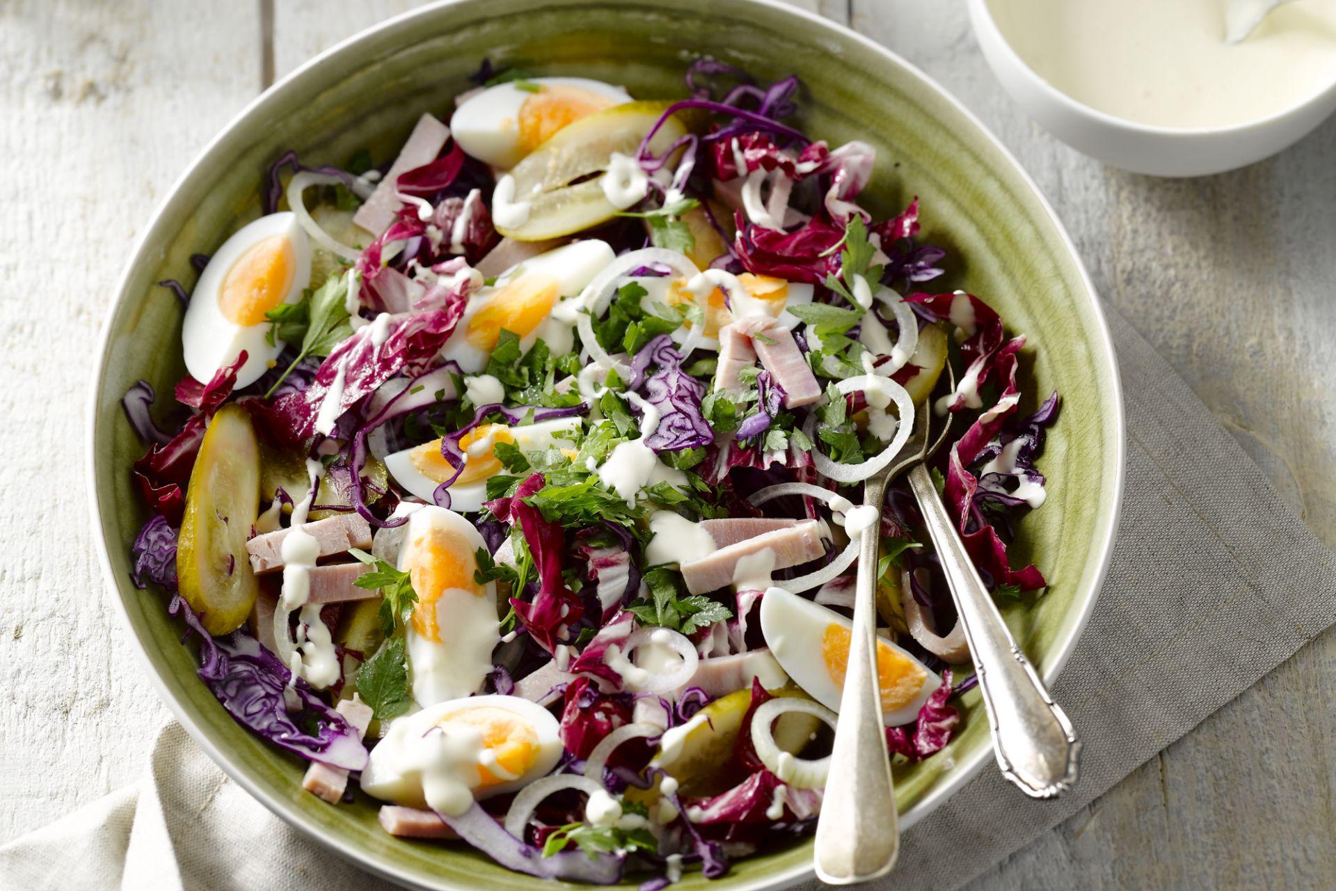 Rode salade met ham