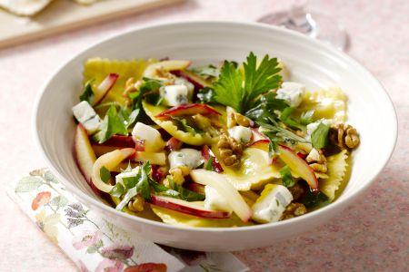 Ravioli met appel, walnoten en gorgonzola