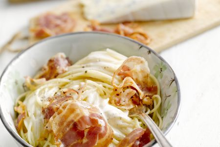 Spaghetti met pancetta en cambozola