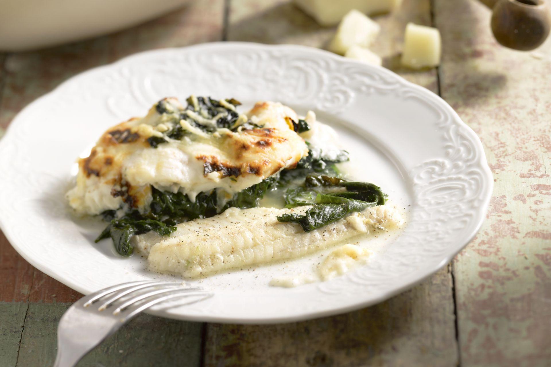 Tongfilet met spinazie en bechamelsaus