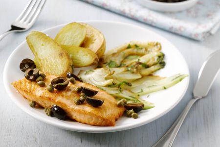 Zalm met venkel-aardappelsalade