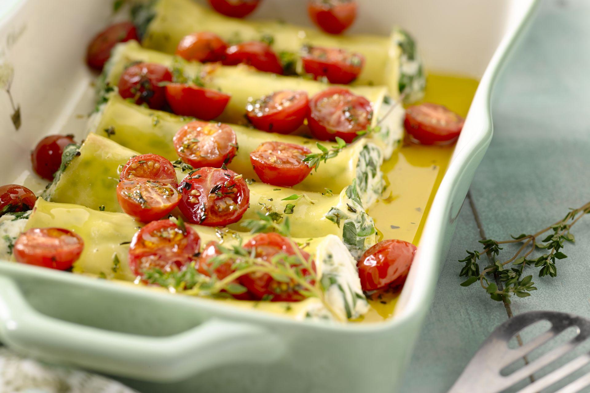 Cannelloni met geitenkaas en kerstomaatjes