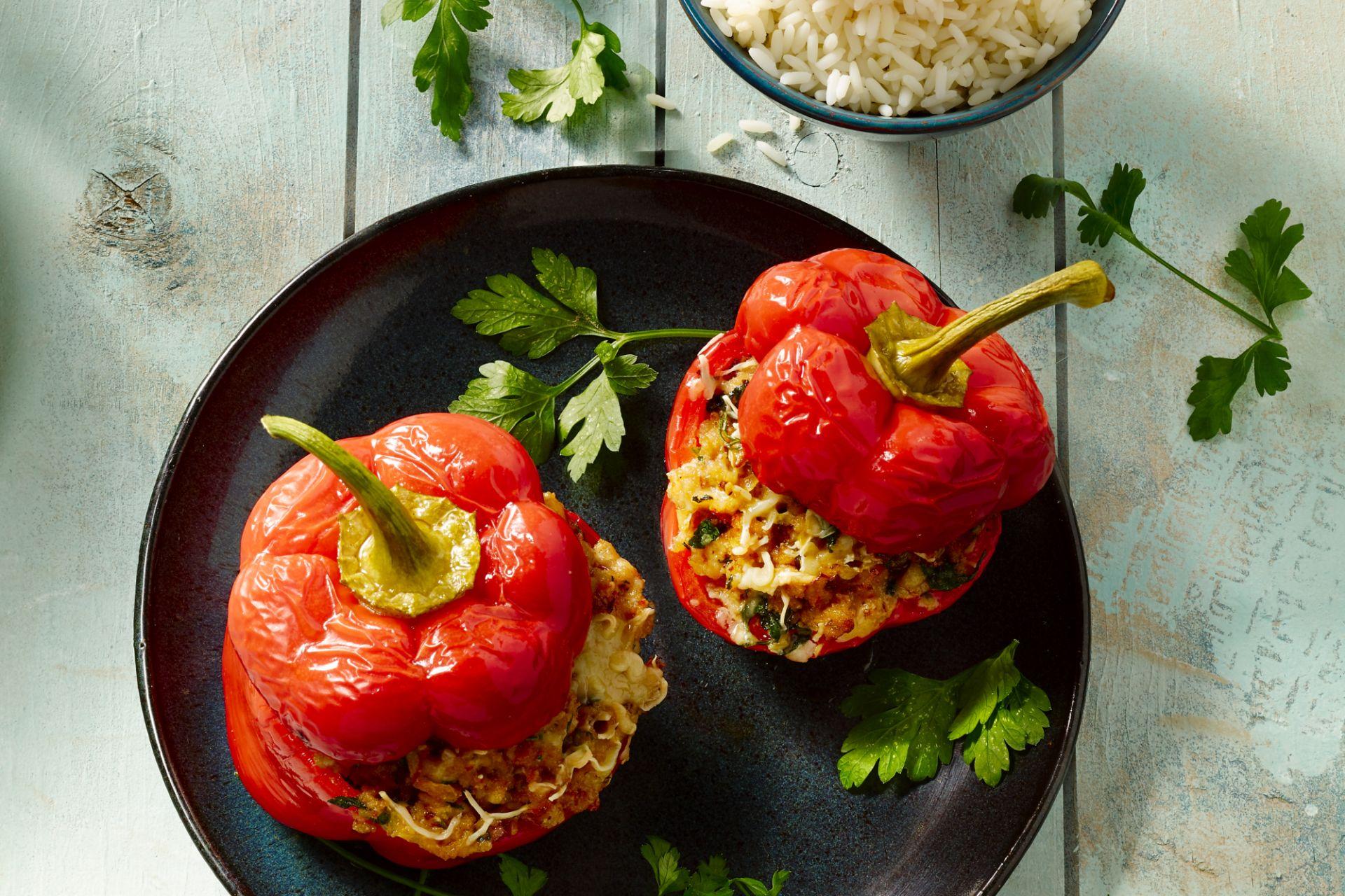Gevulde paprika met pittig gehakt