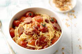 Foto van Spaghetti met chorizo en pangrattato
