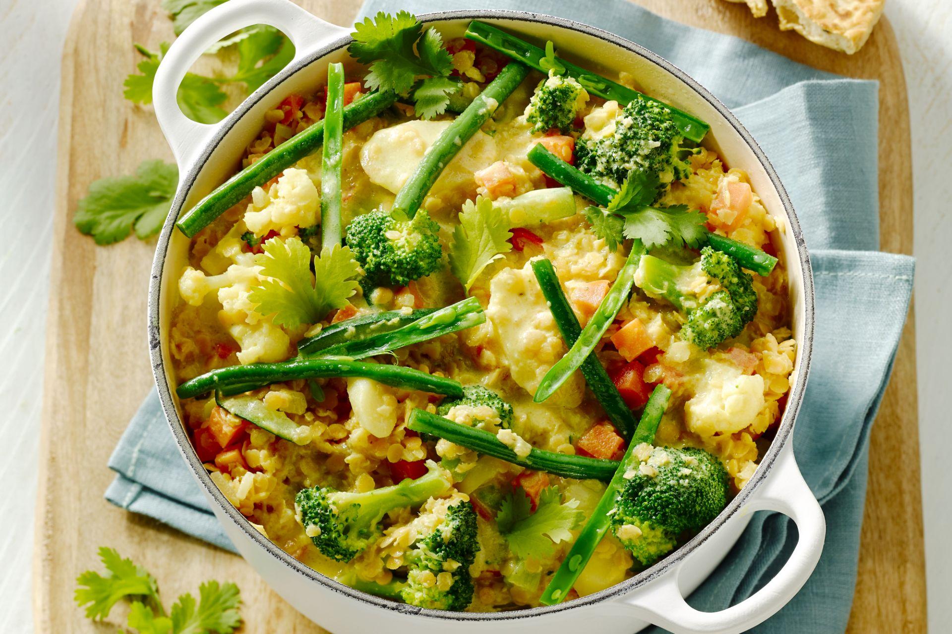 Vegetarisch stoofpotje met groenten en linzen