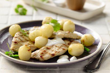 Kalkoenfilet met kruiden, Griekse yoghurt en zilverui