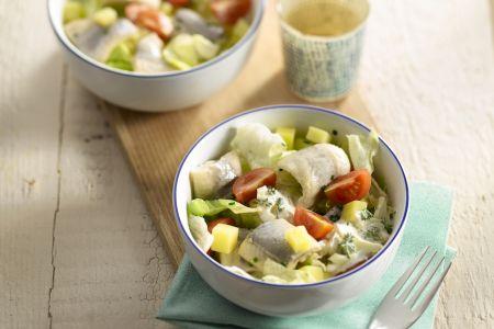 Aardappelsalade met rolmops en tartaarsaus