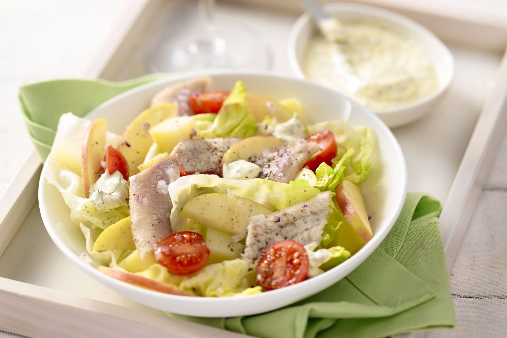 Salade met haring en appel