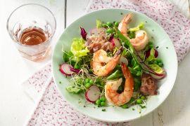 Foto van Salade van scampi met pancetta