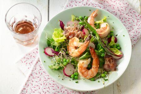 Salade van scampi met pancetta