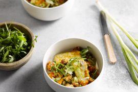 Foto van Quinoasalade met halloumi en zoete aardappel