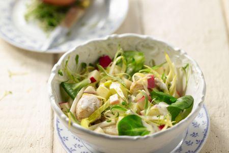 Witloofsalade met gebakken kip en yoghurtvinaigrette