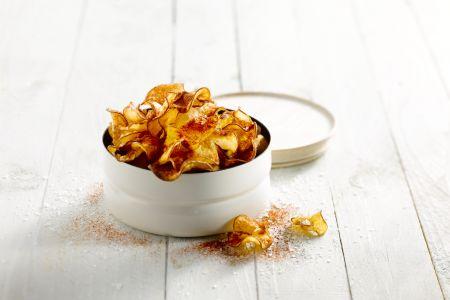 Pittige chips van zoete aardappel