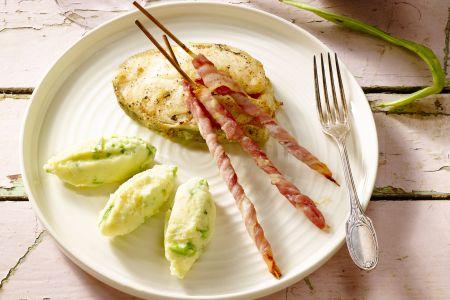 Stoemp van snijbonen met krokante spekreepjes en gebakken kabeljauwmoot