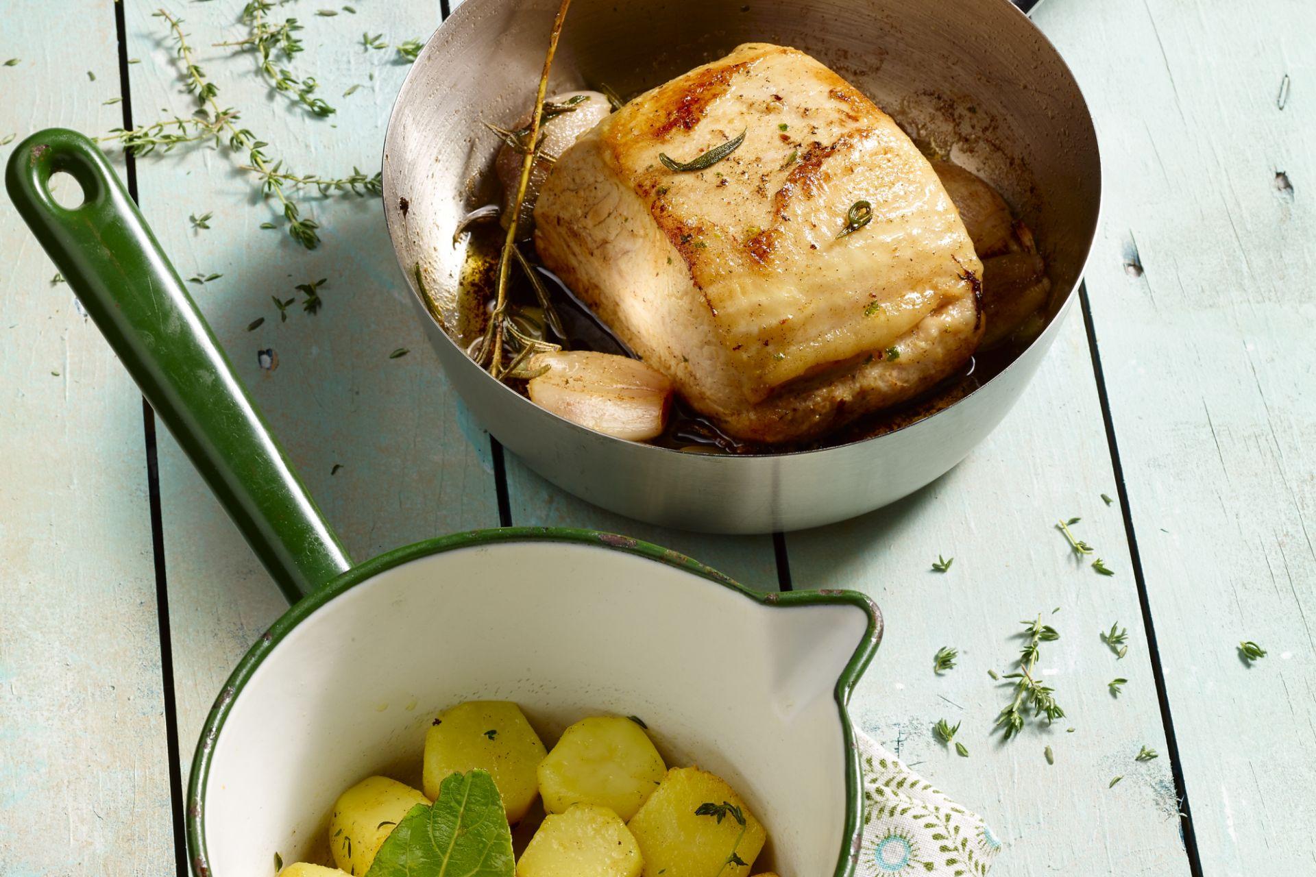 Varkensgebraad met fondant aardappelen
