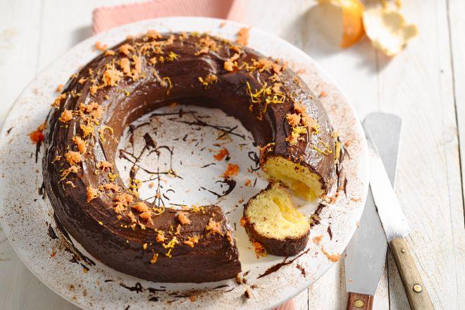 Wortelcake met mandarijntjes en chocoladeglazuur