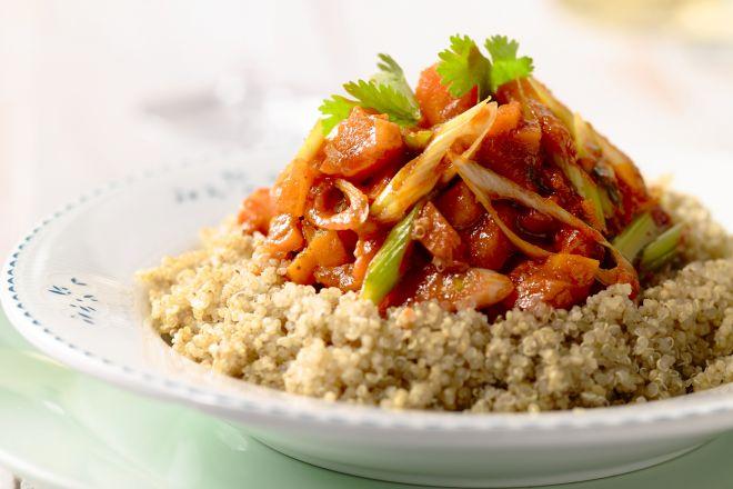 Stoofpotje van wortel en pompoen met quinoa