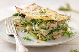Foto van Lasagne van groene asperges en zalm