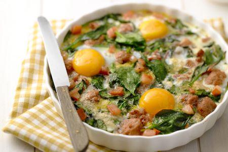 Ovenschotel met spinazie en merguez