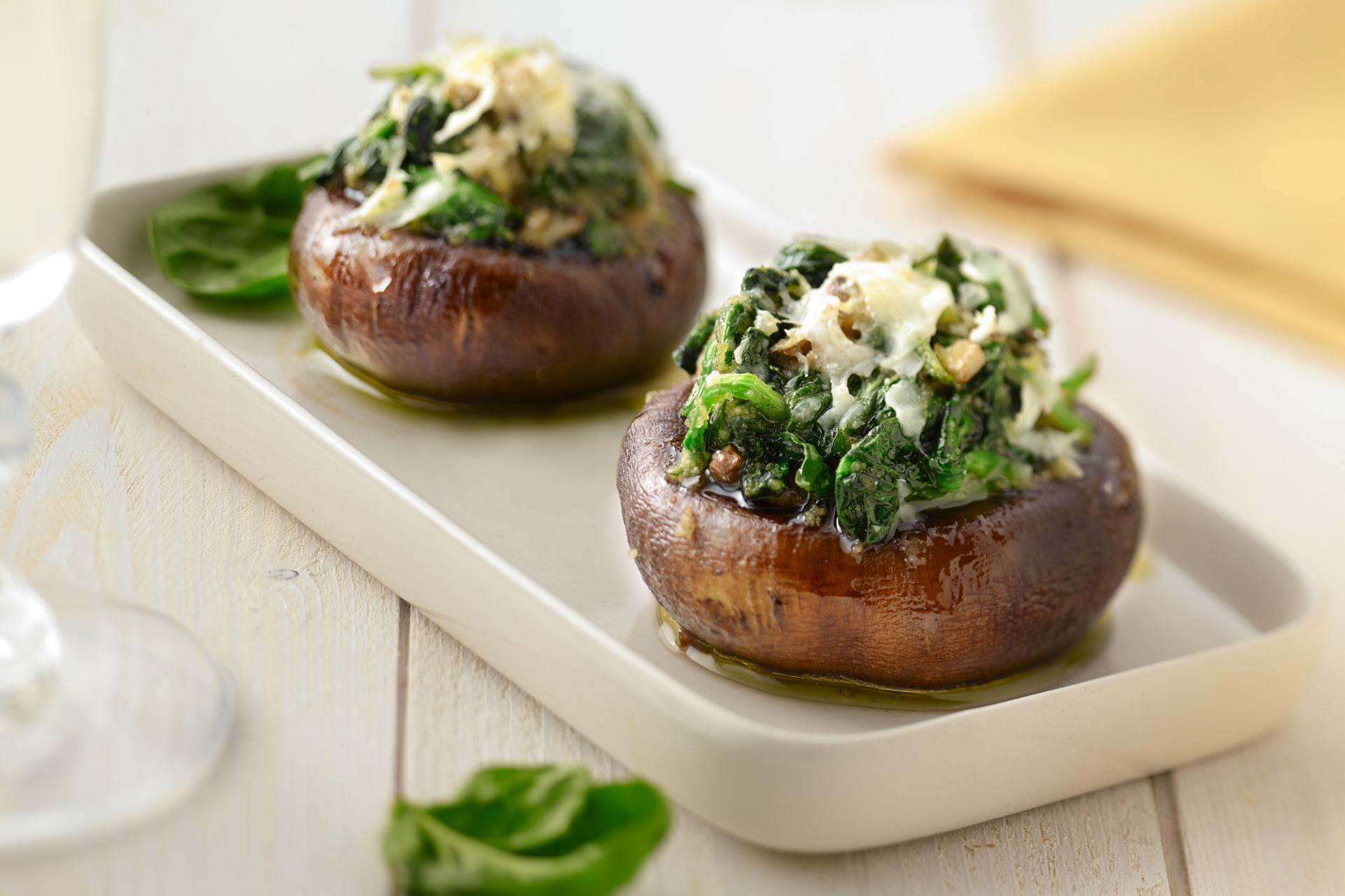 Champignons gevuld met spinazie