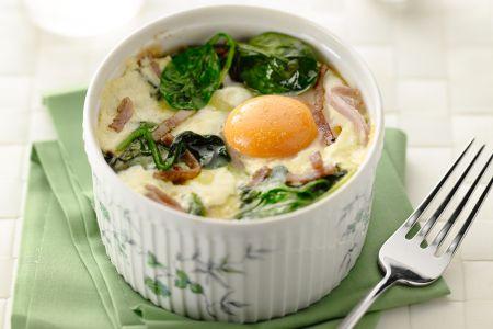 Cocotte van ei en spinazie