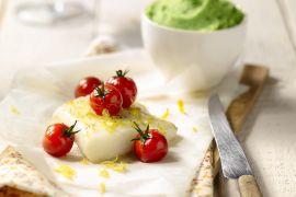 Foto van Kabeljauw met aardappel-doperwtenpuree