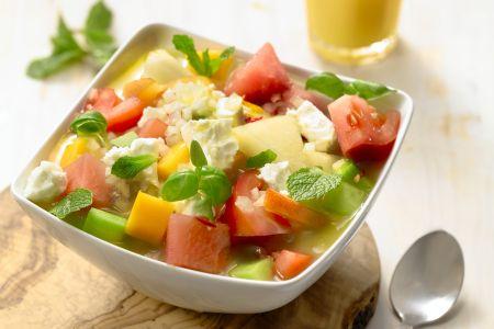 Gazpacho van tomaat en fruit