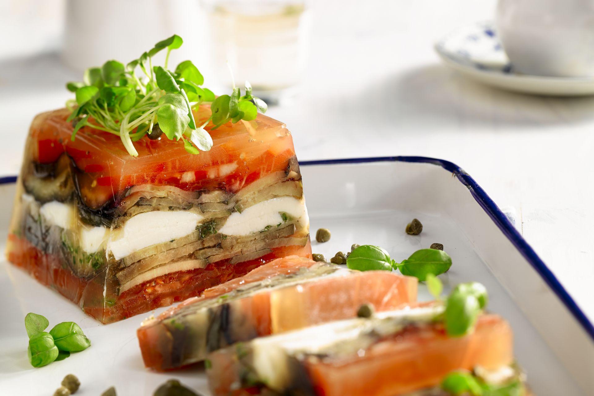 Terrine van tomaat en aubergine