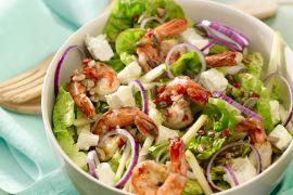 Foto van Salade met feta en scampi