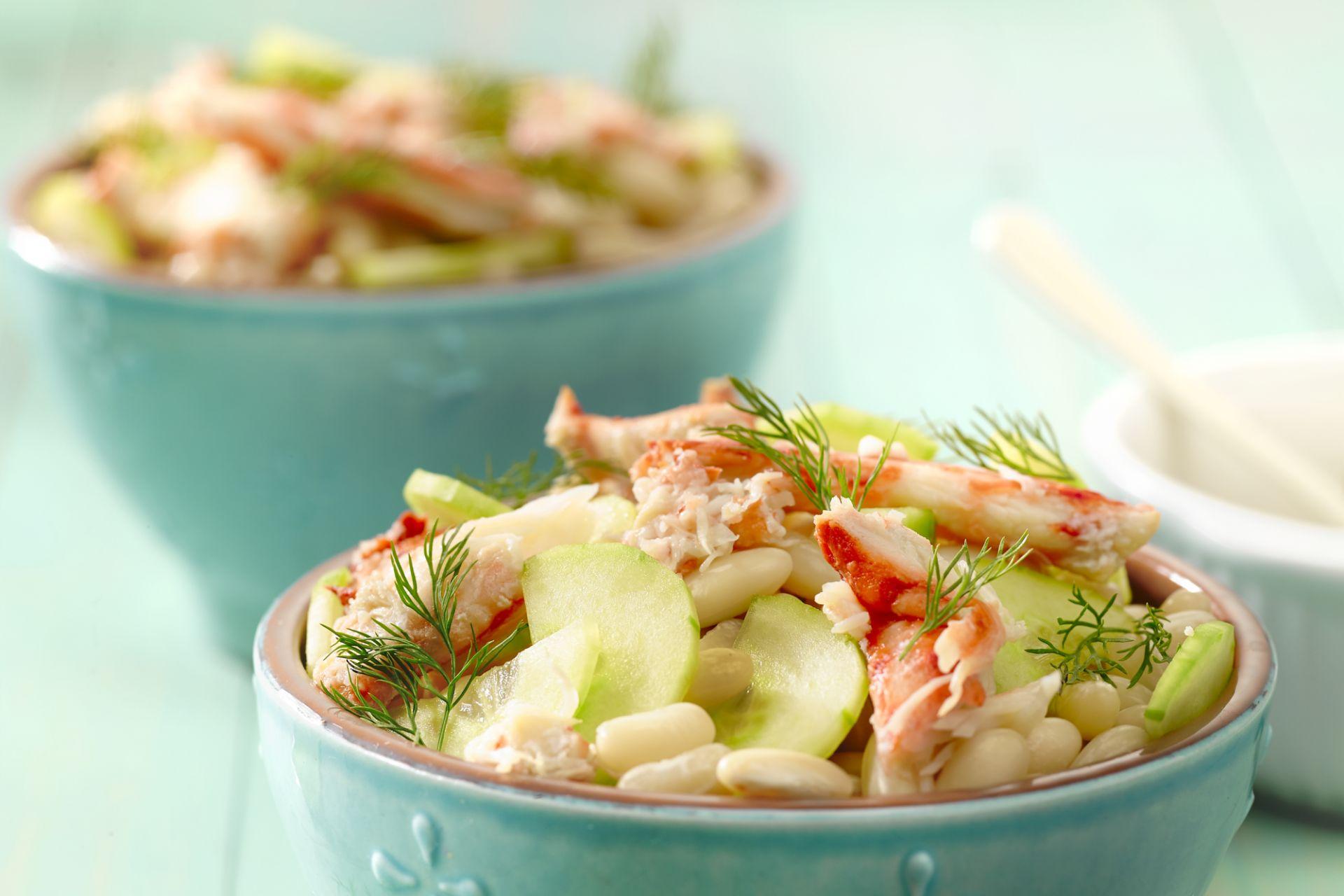 Witte bonen salade met krab en limoen