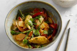 Foto van Rode curry met kip en scampi's