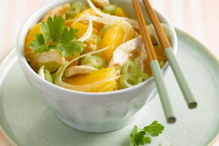 Gebakken kippenreepjes met salade van venkel en sinaasappel