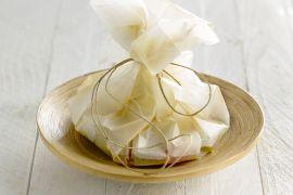 Foto van Papillot van kabeljauw met citroen en artisjok