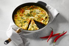 Foto van Pompoen, halloumi en chili omelet