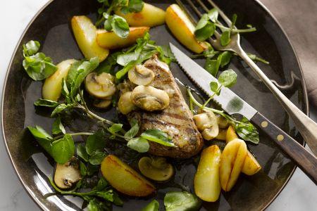 Steak met champignons en ovenaardappeltjes