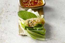 Foto van Vietnamese loempia met vlees en groenten