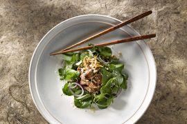 Foto van Rundvlees met waterkerssalade