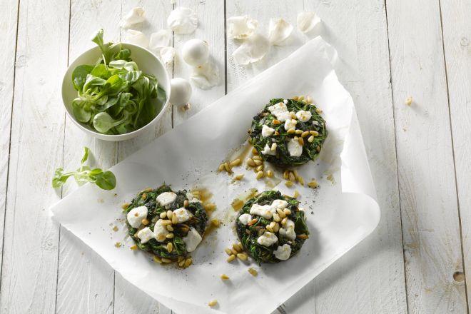 Portobello met spinazie en geitenkaas