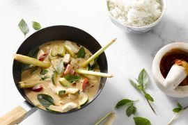 Foto van Thaise curry met kip en holy basil